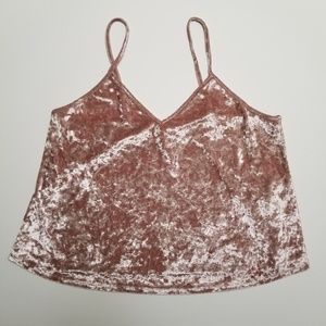 Forever 21 Crushed Pink Velvet Cropped Tank Top